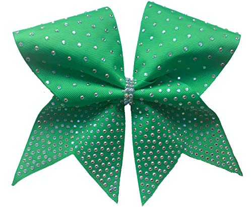 Bling Princess Rhinestone Cheer Bow with Scatter Design (Emerald)