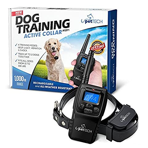 Pettech PT0Y1 Dog Training Shock Collar, Rechargeable and Weather Resistant, 1000 ft Range - 302 Training