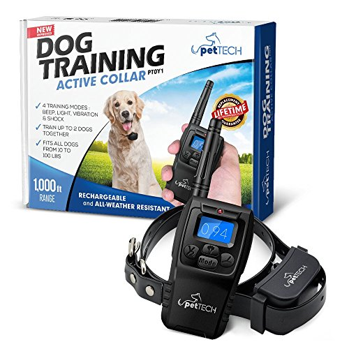 PetTech Remote Controlled Dog Training Collar, Rechargeable and All-Weather Resistant, All Size Dogs (10Lbs - 100Lbs), 1000ft Range