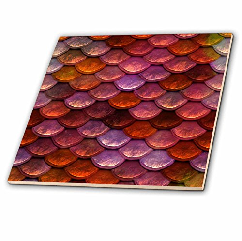 3dRose Andrea Haase Allover Pattern - Image of Mermaid Scales In Shades of Red - 8 Inch Glass Tile - Images Glasses Shades
