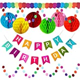 Happy Birthday Banner Party Decorations - Large Happy Birthday Banner, Extra Large Pom Pom Balls & Extra Long 3D Balloon Garland – Circle Garland Strings - Rainbow Party Supplies for Kids & Adults