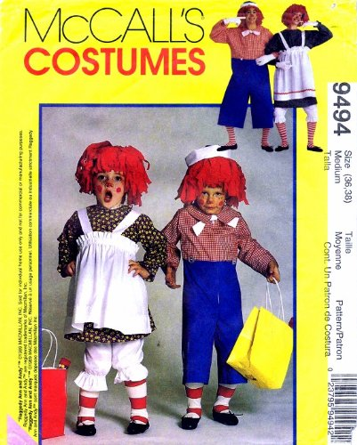 McCall's 9494 Sewing Pattern Womens Mens Adult Raggedy Ann Andy Costumes Bust / Chest 36 - 38]()