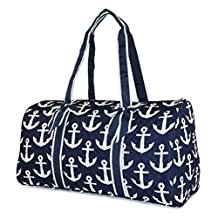 NGIL Quilted Duffle Bag 20-inch, Nautica Anchor Print (Navy White)