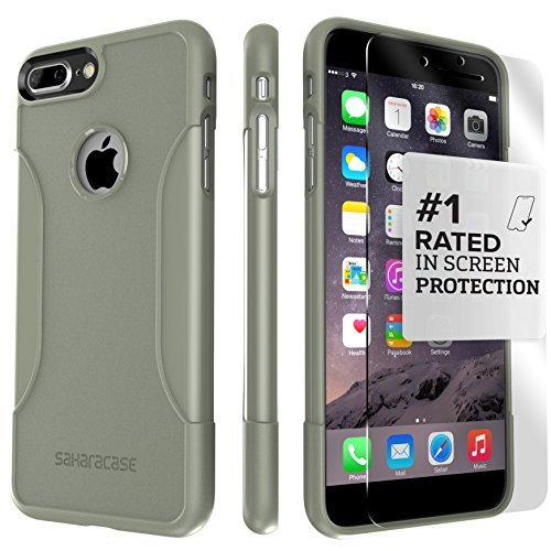 iPhone 8 Plus and 7 Plus Case, SaharaCase Protective Kit Bundled with [ZeroDamage Tempered Glass Screen Protector] Rugged Slim Fit Shockproof Bumper [Hard PC Back] Protection – Camo Green ()