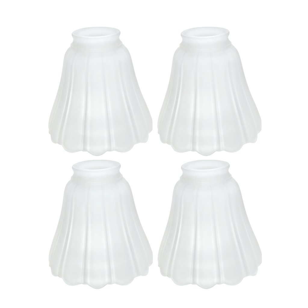 Aspen Creative 23011-4 2-1/8'' Fitter Size 4-3/4'' High x 5'' Diameter Transitional Style Replacement Bell Shaped Frosted Ribbed Glass Shade (4 Pack)