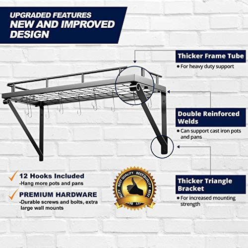 Pot Rack Organizer with Upgraded Hardware, Support Brackets & Welds, Wall Hanging Pot and Pan Organizer, 12 Hooks Included, Easy to Install, Kitchen Organization Solution for Heavy Pots and Pans by Mainroom Studios (Image #4)