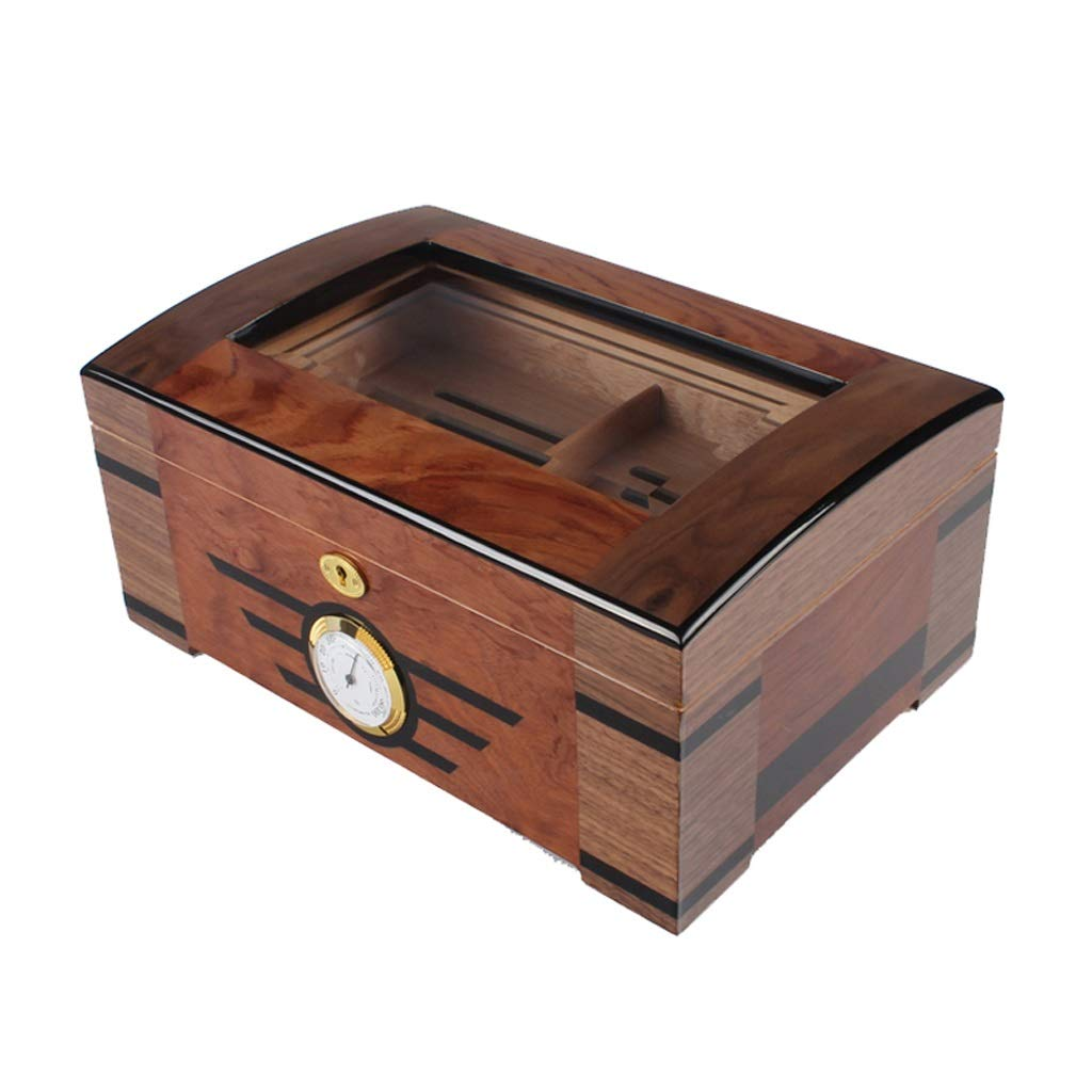 Portable cigar box Cigar Box,with Humidifier and Hygrometer Large Capacity Cigar Box Cigarette Case, Glass Cover, Professional Storage Cigar Seal Constant Temperature and Humidity, Double Layer, Can A