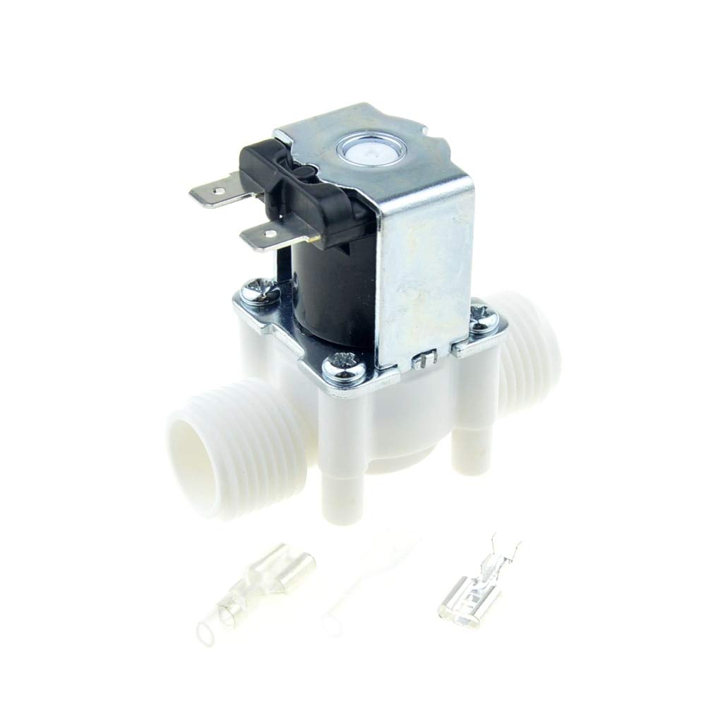 Fincos 1//2 BSP Male Thread Electric Plastic Solenoid Valve 12V 24V 220V Normal Closed Inlet Water Valve RO Water Reverse Osmosis System Voltage: DC 12V