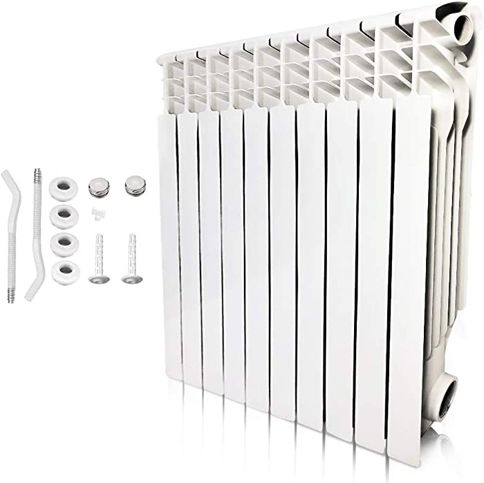 AB Energy Saving Wall Mount Radiator Heater, Light Weight Aluminum Hot Water Radiator for Kitchen, bathroom and bedrooms(10 Section)