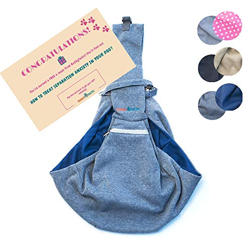 BuddyTastic Pet Sling Carrier - Reversible and Hands-Free Dog Bag with Adjustable Strap and Pocket - Soft Puppy Sling for Pets up to 13 lbs - Grey & Navy Blue