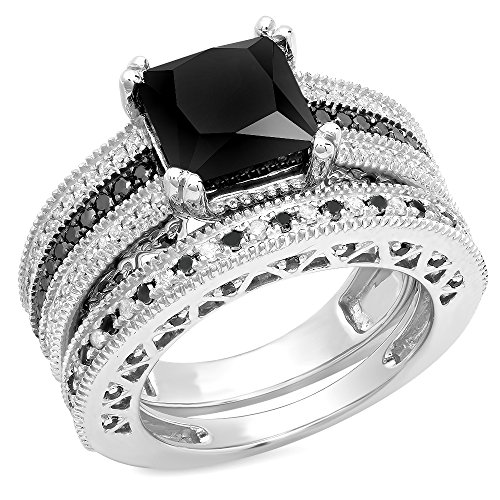 4.75 Carat (ctw) Sterling Silver Black & White Diamond Ladies Bridal Engagement Ring Set (Size 7) by DazzlingRock Collection