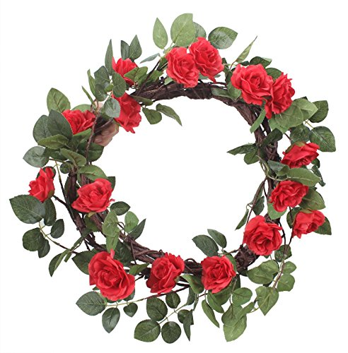 Duovlo 18-inches Rose Flowers Wreath Artificial Handmade Simulation Floral Wreaths Blossom Home Arrangements Wedding Decoration (Red)