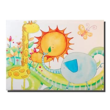 Childrens Nursery Bedroom Canvas Wall Art, Animal Jungle Friends ...
