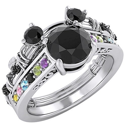 Jewel Zone US Round Cut Moissanite Multi Gemstone Mickey Mouse Fashion Ring in 14K White Gold Over Sterling Silver ()