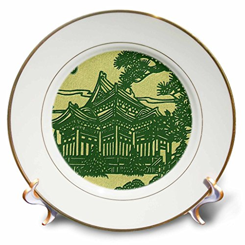 Russ Billington- Beautiful China Series - Chinese House in Trees - 8 inch Porcelain Plate (cp_238793_1)