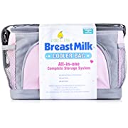 Pebble & Pear Breastmilk Storage Cooler Bag with Ice Pack and Baby Wet Bag (Pink/Gray)