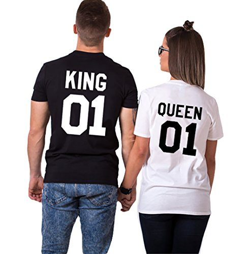 Double Fashion T-Shirt King Queen Pair Set 2 Matching Couple Valentine Birthday Wedding by (Black+White, King-L+Queen-M) by Double Fashion