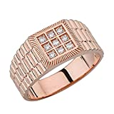 Solid 14k Rose Gold Men's Classy Watch Band with Diamond (Size 11.25)