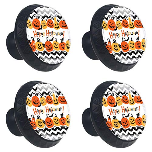Anmarco Happy Halloween Pumpkin Chevron Drawer Knobs Pull Handles 30MM 4 Pcs Glass Cabinet Drawer Pulls for Home Kitchen Cupboard ()