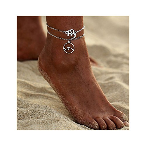 Silver Beach Wave Foot Chain - Glamour Ankle Bracelet Beach Legs and Feet Jewelry for Women (Silver)