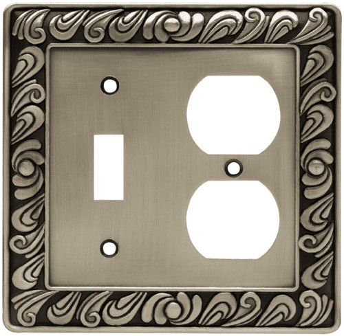 (Franklin Brass 64050 Paisley Single Toggle Switch/Duplex Outlet Wall Plate/Switch Plate/Cover, Brushed Satin Pewter)