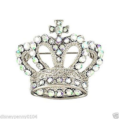 Enamel Elegant Cufflinks - RHODIUM CROWN PIN Elegant Aurora Rhinestones Beauty Pageants-1 1/2 Inches