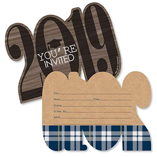 Grad Keys to Success - Shaped Fill-in Invitations - 2019 Graduation Party Invitation Cards with Envelopes - Set of 12