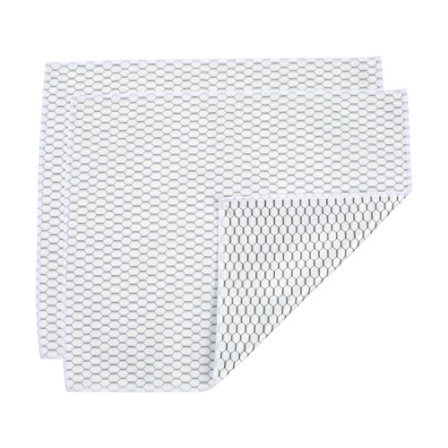 Casabella Microfiber White & Black Honeycomb Glass Cloth (2 Pack), 12