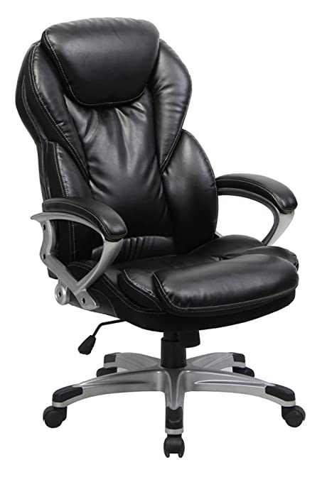 VIVA OFFICE Thick Padded High Back Bonded Leather Executive Chair With  Casters