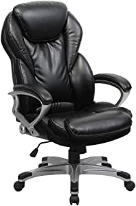 Amazon Com Viva Office Ergonomic Office Chair Executive Bonded Leather Computer Chair High Back With Cushioned Seating Black Furniture Decor