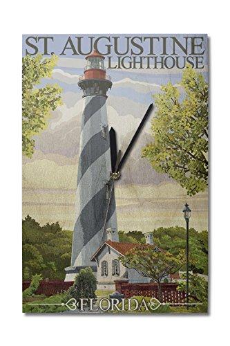 Lantern Press St. Augustine, Florida Lighthouse (10x15 Wood Wall Clock, Decor Ready to ()