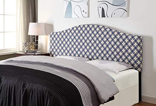 "Pulaski DS-2280-250-QN Full Quatrefoil Navy Pattern, 65.00"" W x 58.00"" H x 3.50"" D Upholstered Queen Headboard,"