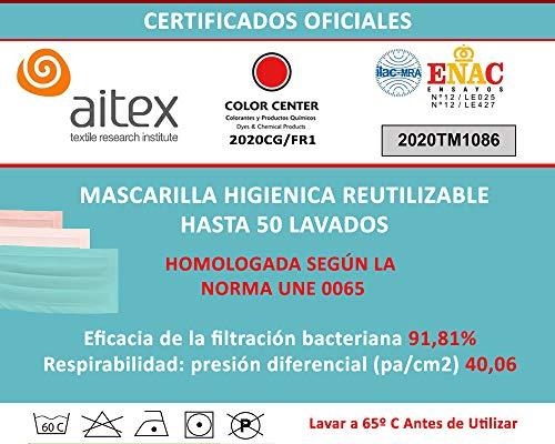 51ZsaoOHlXL MASCARILLA HIGIENICA HOMOLOGADA: Eficacia de filtración bacteriana (BFE) 91,88 ± 3,29. Lavable y Reutilizable hasta 50 lavados Personalizable con tu logotipo, texto, foto. COMPOSICION DE MATERIAL: 92% Poliester y un 8% Elastomero. MASCARILLAS HOMOLOGADAS: laboratorio AITEX con número de ensayo 2020TM1086 y cumple normativa EN 14683:2019+AC 2019, norma UNE 0065
