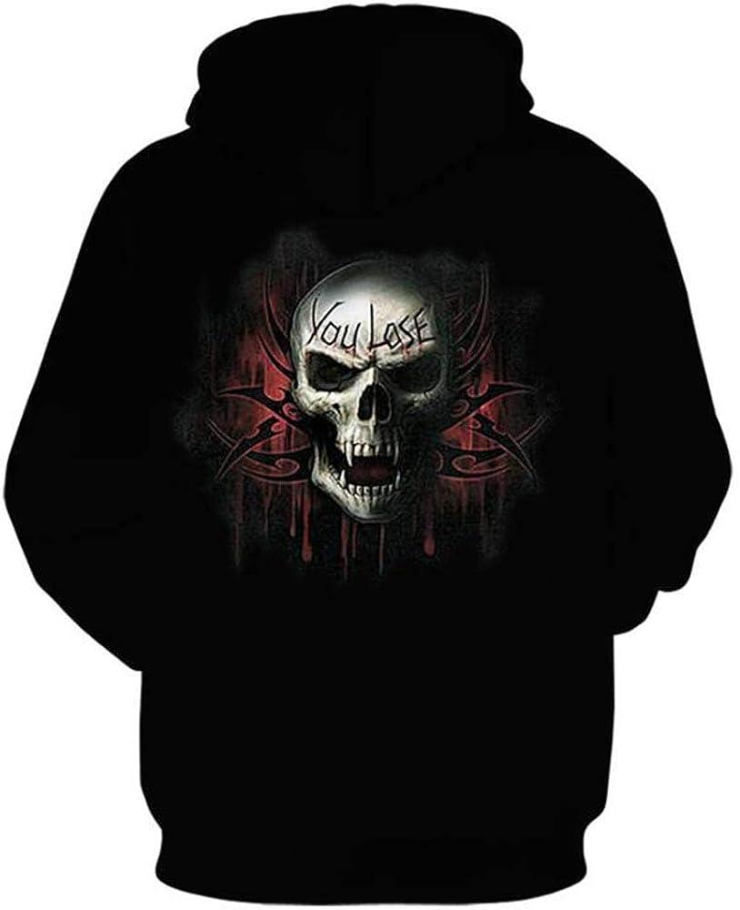 Worclub Felpa Uomo con Cappuccio Skull Plain Pullover College Hoody con Tasca Kanga