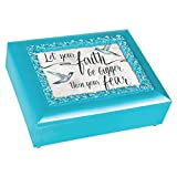 Cottage Garden Faith Bigger Than Fear Turquoise Pearlescent Large Decorative Jewelry Keepsake Box