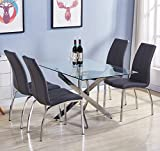 GOLDFAN Glass Dining Table and Chairs Set 4 Living Room Kitchen Tables Set with Chrome Legs for Dining Room Office Conference Lounge,Grey