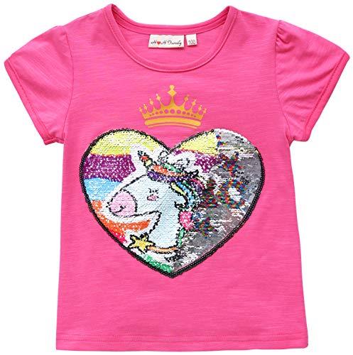 Flip Stars - Unicorn Flip Heart Sequin Girl's T-Shirt Short/Long Sleeve 3-12 Years (12, Short Magic Shirt)