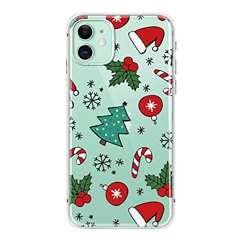 LKG Tech 2019 New iPhone 11 Christmas Santa Case Clear TPU Full Body Protective Shockproof Slim Wireless Charging Support for iPhone 11 6.1 inch Case Tree(6) (2019 Iphones Christmas For)