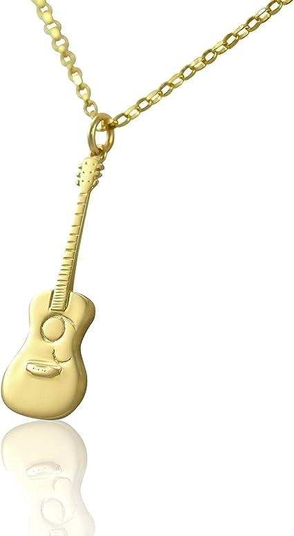 Colgante de guitarra acústica de oro macizo de 9 quilates, regalo ...