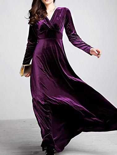 de manga vestido noche de del 4 cuello de Costuró longitud Vestido Vestido vestido elegante 3 cóctel Invierno contraste de de Purple Vestido de noche de Scothen redondo cóctel Vestidos piso q8ZXvx