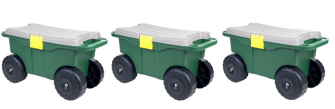 Pure Garden 75-MJ2011 20'' Plastic Garden Storage Cart & Scooter (Pack of 3)