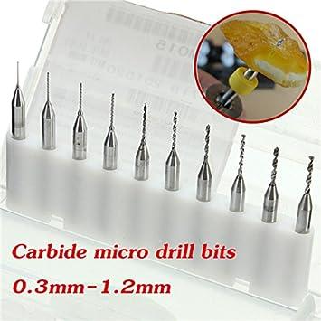 10pcs 0.3 - 1.2 mm carburo Micro PCB Brocas CNC joyería herramienta rotativa para juntas de PC: Amazon.es: Electrónica