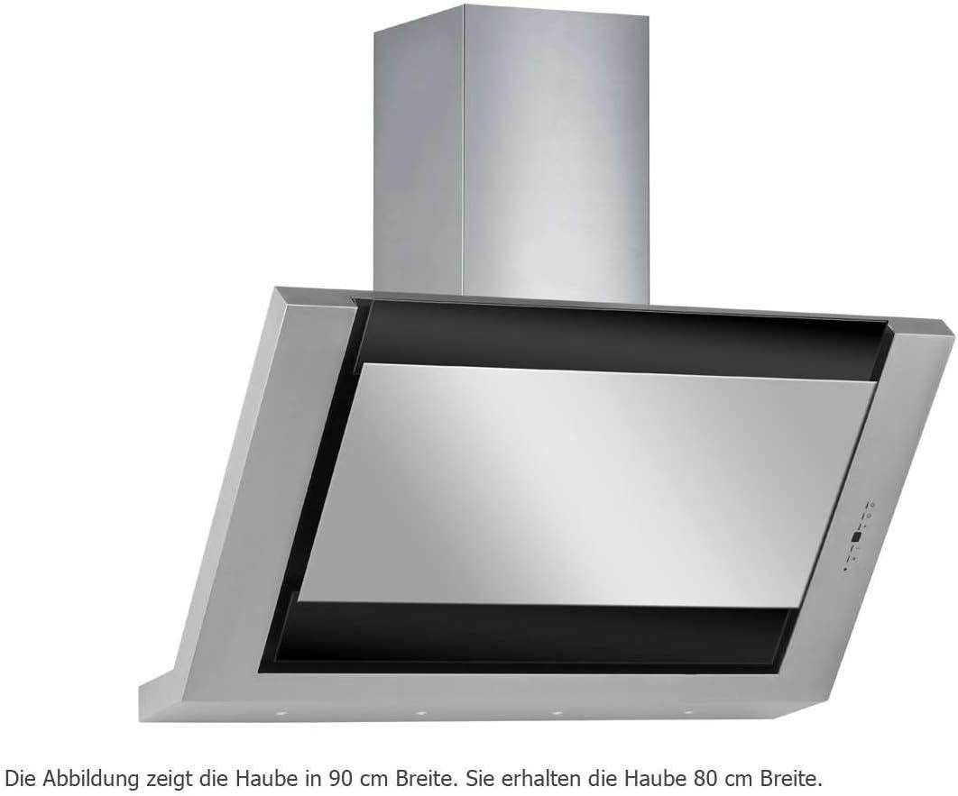 Silverline Leo Deluxe Lew 885.1 S/pared Campana/acero inoxidable/cristal/negro/80 cm/cabeza libre/B: Amazon.es: Grandes electrodomésticos