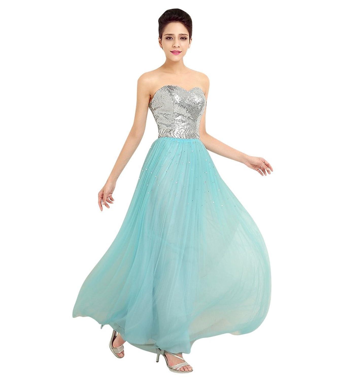 MissFox Damen Schulterfreies Cocktail Kleid mit Paillettenverzierung