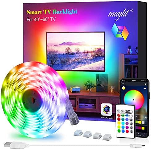 Led Strip Lights, Maylit Tv Led Backlight for 40-60 inch Tv Bluetooth Control Sync to Music, USB Bias Lighting Tv Led Lights Kit with Remote - RGB 5050 LEDs Color Lights for Room Bedroom