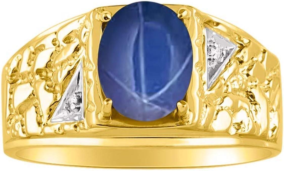 Rylos Nugget Blue Star Sapphire & Diamond Ring - Piedra de nacimiento de septiembre