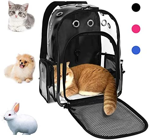 YUDODO Pet Cat Dog Backpack Carrier for Rabbit Small Animal, Breathable Clear Lightweight, Designed for Travel, Hiking, Walking Outdoor Use