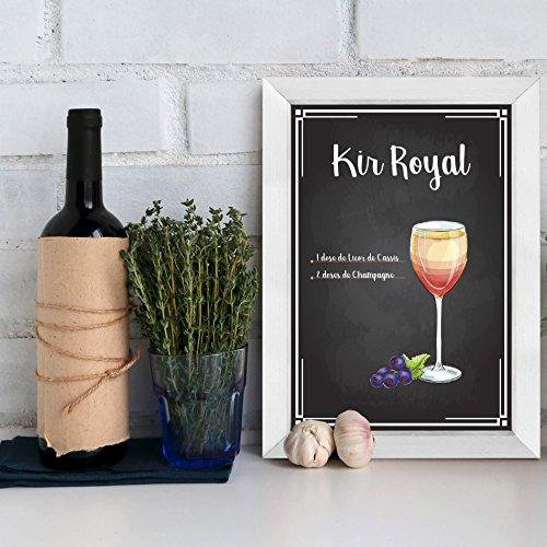 Quadro Decorativo Bebida Kir Royal 22x32cm Moldura Branca
