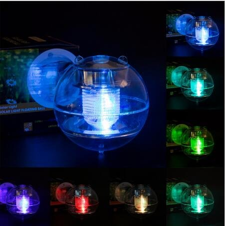 Solar Power Waterproof Automatic Color Changing LED 7 Colors Floating Swimming Lantern Shape Globe Swimming Pool Pond Party Ball Light Garden Decoration Night Lights Lamp (pool light)