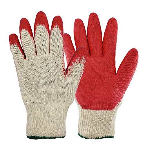 100 Pairs, The Elixir String Knit Palm, Latex Dipped Nitrile Coated Work Gloves for General Purpose, Safety Working Gloves, Made in -